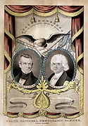 1844 election banner produced by Nathaniel Currier for James Knox Polk (1795-1849) 11th President of the United States of America 1845-1849, and his Vice-President George Mifflin Dallas (1792-1864), running on the Democratic ticket. Coloured lithograph.