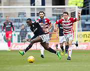 5th May 2018, Dens Park, Dundee, Scotland; Scottish Premier League football, Dundee versus Hamilton Academical; Glen Kamara of Dundee goes past Ross Jenkins and Darren Lyon of Hamilton Academical