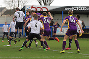 Rob Dickie scores and celebrates his goal during the Vanarama National League match between Guiseley  and Cheltenham Town at Nethermoor Park, Guiseley, United Kingdom on 9 April 2016. Photo by Antony Thompson.