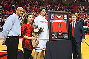 LUBBOCK, TX - MARCH 3: Head coach Chris Beard poses with Zach Smith #11 of the Texas Tech Red Raiders during Senior Day activities before the game between the Texas Tech Red Raiders and the TCU Horned Frogs on March 3, 2018 at United Supermarket Arena in Lubbock, Texas. Texas Tech defeated TCU 79-75. Texas Tech defeated TCU 79-75. (Photo by John Weast/Getty Images) *** Local Caption *** Chris Beard;Zach Smith