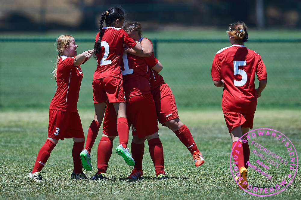 SO Poland athlete celebrates with team mates after scoring against SO Sweden while football women match 7-a-side during fourth day of the Special Olympics World Games Los Angeles 2015 on July 28, 2015 at Balboa Sports Centre in Los Angeles, USA.<br /> USA, Los Angeles, July 28, 2015<br /> <br /> Picture also available in RAW (NEF) or TIFF format on special request.<br /> <br /> For editorial use only. Any commercial or promotional use requires permission.<br /> <br /> Adam Nurkiewicz declares that he has no rights to the image of people at the photographs of his authorship.<br /> <br /> Mandatory credit:<br /> Photo by © Adam Nurkiewicz / Mediasport