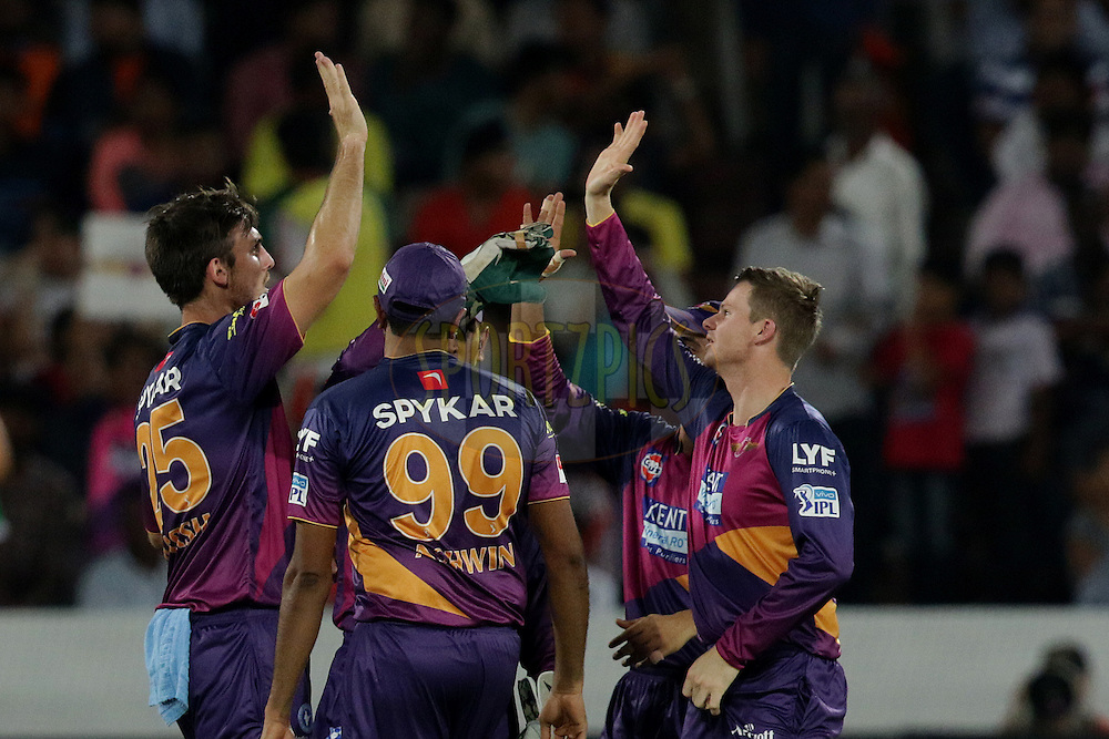Mitchell Marsh of Rising Pune Supergiants celebrate the wicket of Eoin Morgan of Sunrisers Hyderabad during match 22 of the Vivo IPL 2016 (Indian Premier League ) between the Sunrisers Hyderabad and the Rising Pune Supergiants held at the Rajiv Gandhi Intl. Cricket Stadium, Hyderabad on the 26th April 2016<br /> <br /> Photo by Rahul Gulati / IPL/ SPORTZPICS
