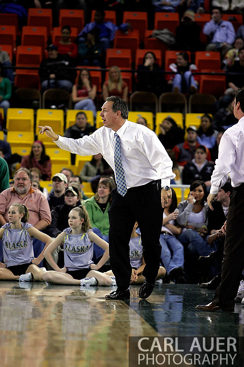 24 November 2005:  University of Alaska Anchorage head coach Rusty Osborne in the UAA Seawolves 60-65 loss to the South Carolina Gamecock's in the first round of the Great Alaska Shootout at the Sullivan Arena in Anchorage Alaska.