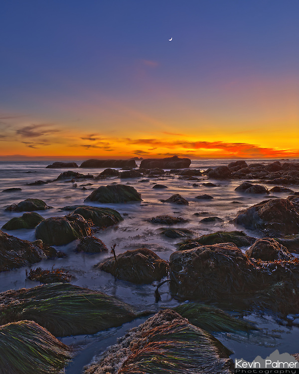 The crescent moon shines through the colors of sunset over the Pacific Ocean. The seaweed was rising and falling with the waves as they splashed around the rocks. This was taken in Dana Point, California.<br />