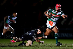Guinness PRO14, Rodney Parade, Newport, UK 06/03/2020<br /> Dragons vs Benetton Rugby<br /> Hame Faiva of Benetton Rugby is challenged by Jacob Botica of Dragons<br /> Mandatory Credit ©INPHO/Ryan Hiscott