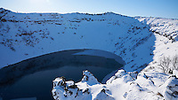 Kerið explosion crater in winter, South Iceland.