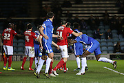 Coventry City defender Aaron Martin (21) gets a hold of Peterborough United defender Ricardo Almeida Santos (12) shirt from a corner during the Sky Bet League 1 match between Peterborough United and Coventry City at London Road, Peterborough, England on 25 March 2016. Photo by Simon Davies.