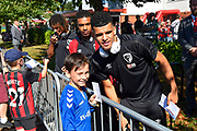 Dominic Solanke (9) of AFC Bournemouth arrives at the Vitality Stadium ahead of the Premier League match between Bournemouth and Everton at the Vitality Stadium, Bournemouth, England on 15 September 2019.