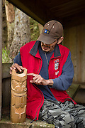Haida watchman and artist Ken Hans talks about a totem he created outside SGang Gwaay, a UNESCO World Heritage Site in Haida Gwaii.