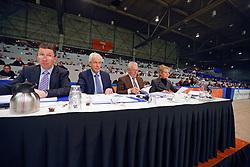 Jury vrijspringen<br /> Cor Loeffen, Hester Klompmaker, Wim Versteeg, Daan Nanning<br /> KWPN Hengstenkeuring - 's Hertogenbosch 2013<br /> © Dirk Caremans