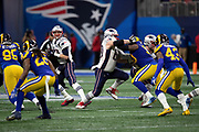 New England Patriots center David Andrews (60) blocks Los Angeles Rams defensive end Michael Brockers (90) during the NFL Super Bowl 53 football game on Sunday, Feb. 3, 2019, in Atlanta. The Patriots defeated the Rams 13-3. (©Paul Anthony Spinelli)