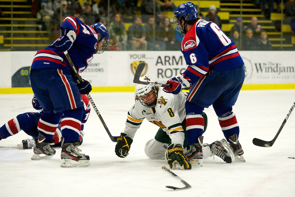 The men's hockey game between the UMass Lowell River Hawks and the Vermont Catamounts at Gutterson Field House on Friday night January 13, 2012 in Burlington, Vermont.