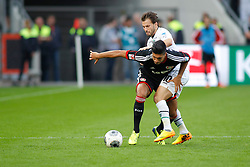 28.09.2013, BayArena, Leverkusen, GER, 1. FBL, Bayer 04 Leverkusen vs Hannover 96, 7. Runde, im Bild Zweikampf zwischen Emre Can #10 (Bayer 04 Leverkusen) und Szabolcs Huszti #10 (Hannover 96). (v.l.). Aktion, Action // during the German Bundesliga 7th round match between Bayer 04 Leverkusen and Hannover at the BayArena, Leverkusen, Germany on 2013/09/28. EXPA Pictures © 2013, PhotoCredit: EXPA/ Eibner/ Grimme<br /> <br /> ***** ATTENTION - OUT OF GER *****