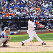 Juan Uribe, New York Mets, drives in the winning run in the tenth inning of the Mets 3-2 win during the New York Mets Vs Los Angeles Dodgers MLB regular season baseball game at Citi Field, Queens, New York. USA. 26th July 2015. Photo Tim Clayton
