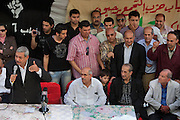 A group of local Egyptian politicians and political analysts welcome Egyptian Nobel Peace laureate and former UN atomic watchdog chief, Mohamed ElBaradei (seated,c) during a brief stop in the Egyptian delta town of Aga on April 2, 2010. ElBaradei is thought to be a possible candidate to run against Egyptian President Hosni Mubarak in the 2011 presidential election, although he has not made a formal declaration as of yet.