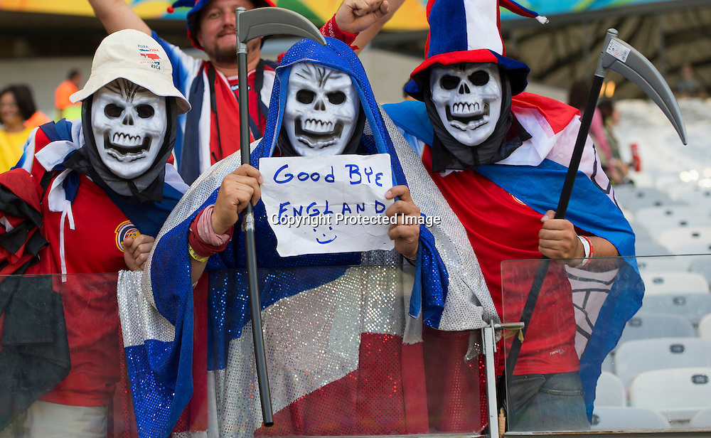 Costa Rica fans rejoice in England's demise<br /> <br /> Costa Rica v England - World Cup Group D - Stadio Mineirao - Belo Horizonte<br /> <br /> Picture : Mark Pain/Offside<br /> 24/6/2014