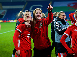 CARDIFF, WALES - Friday, November 24, 2017: Wales' Hayley Ladd and Chloe Lloyd after the 1-0 victory over Kazakhstan during the FIFA Women's World Cup 2019 Qualifying Round Group 1 match between Wales and Kazakhstan at the Cardiff City Stadium. (Pic by David Rawcliffe/Propaganda)