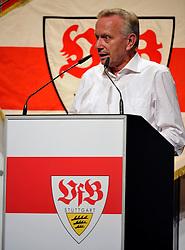 22.07.2013, Porsche-Arena, Stuttgart, GER, 1. FBL, VfB Stuttgart Mitgliederversammlung, im Bild Aufsichtsratsvorsitzender Dr. Joachim SCHMIDT VfB Stuttgart am Rednerpult hoch Hochformat, ,  // during General Assembly of German Bundesliga Club VfB Stuttgart at the Porsche-Arena, Stuttgart, Germany on 2013/07/22. EXPA Pictures © 2013, PhotoCredit: EXPA/ Eibner/ Michael Weber<br /> <br /> ***** ATTENTION - OUT OF GER *****