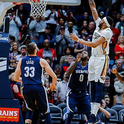 Jan 20, 2018; New Orleans, LA, USA; New Orleans Pelicans forward Anthony Davis (23) shoots over \Memphis Grizzlies forward JaMychal Green (0) during the first half at the Smoothie King Center. Mandatory Credit: Derick E. Hingle-USA TODAY Sports