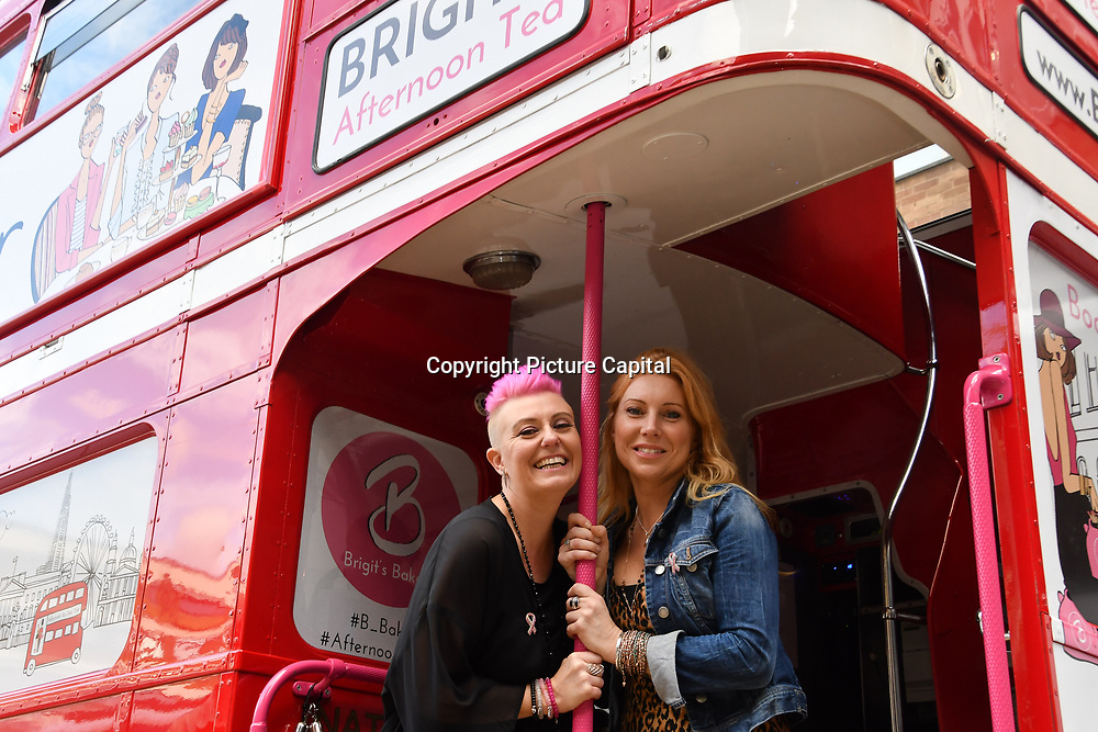 Lisa J Allen and Lynne Lambourne attend Brigits Bakery host their Pink Ribbon Afternoon Tea in aid of the Pink Ribbon Foundation, London, UK. 16 October 2018.