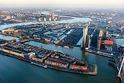 Nederland, Zuid-Holland, Rotterdam, 07-02-2018; Centrum Rotterdam in winters avondlicht, bij zonsondergang. Nieuwe Maas en  Noordereiland.<br /> City centre Rotterdam, Noordereiland (North island).<br /> <br /> luchtfoto (toeslag op standard tarieven);<br /> aerial photo (additional fee required);<br /> copyright foto/photo Siebe Swart