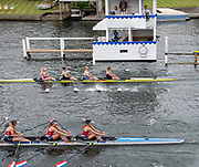 Henley on Thames, England, United Kingdom, Saturday, 06.07.19, Hollandia Roeiclub, Netherlands, NED, (bottom)<br /> and <br /> Cambridge University Women's Boat Club and Reading Rowing Club A (top), crossing the line, in the Semi-Final, of the Princess Grace Challenge Cup, Henley Royal Regatta,  Henley Reach, [©Karon PHILLIPS/Intersport Images]<br /> <br /> 12:17:19 1919 - 2019, Royal Henley Peace Regatta Centenary,