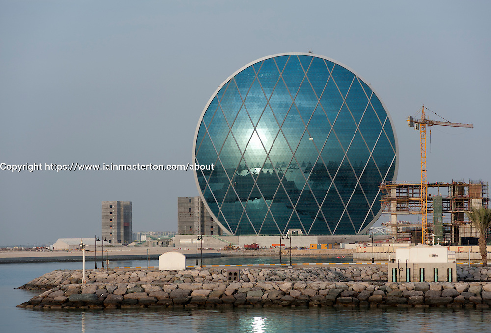 View of new headquarters office building for Aldar at Raha Beach in Abu Dhabi United Arab Emirates UAE