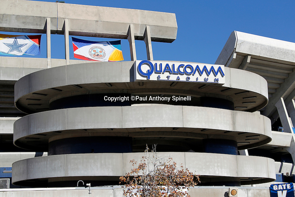 General view of the exterior of Qualcomm Stadium prior to the San Diego Chargers NFL week 14 football game against the Kansas City Chiefs on Sunday, December 12, 2010 in San Diego, California. The Chargers won the game 31-0. (©Paul Anthony Spinelli)