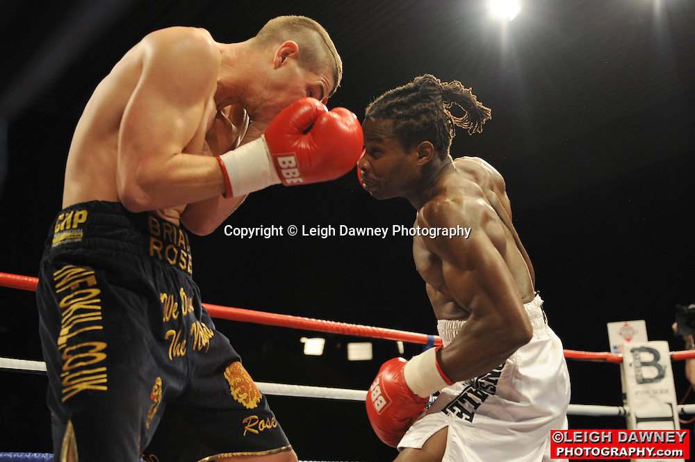 Brian Rose (black shorts) defeated by Max Maxwell at Huddersfield Leisure Centre on 28th May 2010. Frank Maloney Promotions. Photo credit: © Leigh Dawney