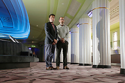 © Licensed to London News Pictures 06/09/2013<br /> Architects Edmund Wilson, left, and Jonathan Size, stand in the top lobby and bar of the newly renovated 1930s Hammersmith Apollo, now called the Eventin Apollo. <br /> The 1932 Art Deco building was designed by renowned theatre architect Robert Cromieand has been the venue for artists like David Bowie's Ziggy Stardust, Bruce Springsteen, The Rolling Stones, Bob Marley, Ella Fitzgerald and Duke Ellington. <br /> The Eventim Apollo will open to the public on 7th September with a sold-out show for Selena Gomez.
