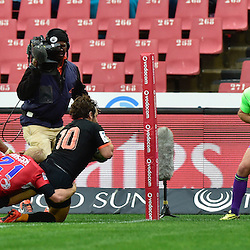 Johannesburg, SOUTH AFRICA, 21, MAY 2016 - during the Super Rugby match between Emirates Lions vs Jaguares ,Emirates Airlines Park,Johannesburg. Nicolás Sánchez of the Jaguares scoring his try. <br /> <br /> South Africa. (Photographer Christiaan Kotze ) -- (Steve Haag Sports) <br /> <br /> Images for social media must have consent from Steve Haag