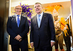 Bogdan Gabrovec, president of OKS and Thomas Bach, IOC president  during official presentation of the Designer wear for Slovenian Athletes at Rio Summer Olympic Games 2016, on April 15, 2016 in Hotel Lev, Ljubljana, Slovenia. Photo by Vid Ponikvar / Sportida