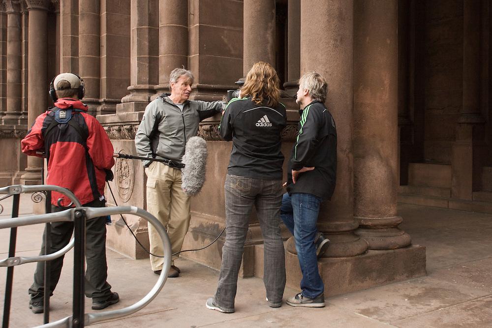 Erich Lyttle interviews Bob Sevene in Copley Plaza for documentary