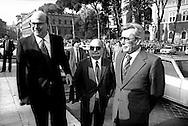 Roma 2  Giugno 1985.<br /> Festa della Repubblica (Republic Day).Bettino Craxi Presidente del Consiglio, Arnaldo Forlani Vice Presidente del Consiglio, Oscar Mammì Ministro Rapporti Con il Parlamento.