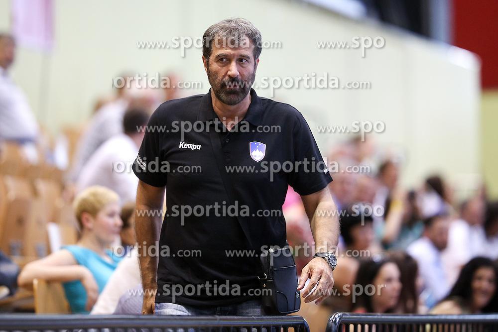 Veselin Vujovic, head coach of mens team Slovenia, during handball match between National Teams of Slovenia and France in Qualification of 2015 Women's European Championship, on June 13th, in Rdeca Dvorana, Velenje. Photo by Morgan Kristan / Sportida
