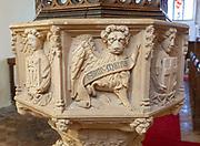 Church of Saint Mary, Newbourne, Suffolk, England, UK - lion of Saint Mark