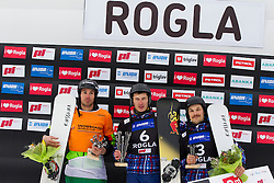 Second placed, Radoslav Yankov (BUL), Winner Andrey Sobolev (RUS) and Third placed Vic Wild (RUS) during flower ceremony after Giant Slalom at FIS Snowboard World Cup Rogla 2016, on January 23, 2016 in Course Jasa, Rogla, Slovenia. Photo by Urban Urbanc / Sportida