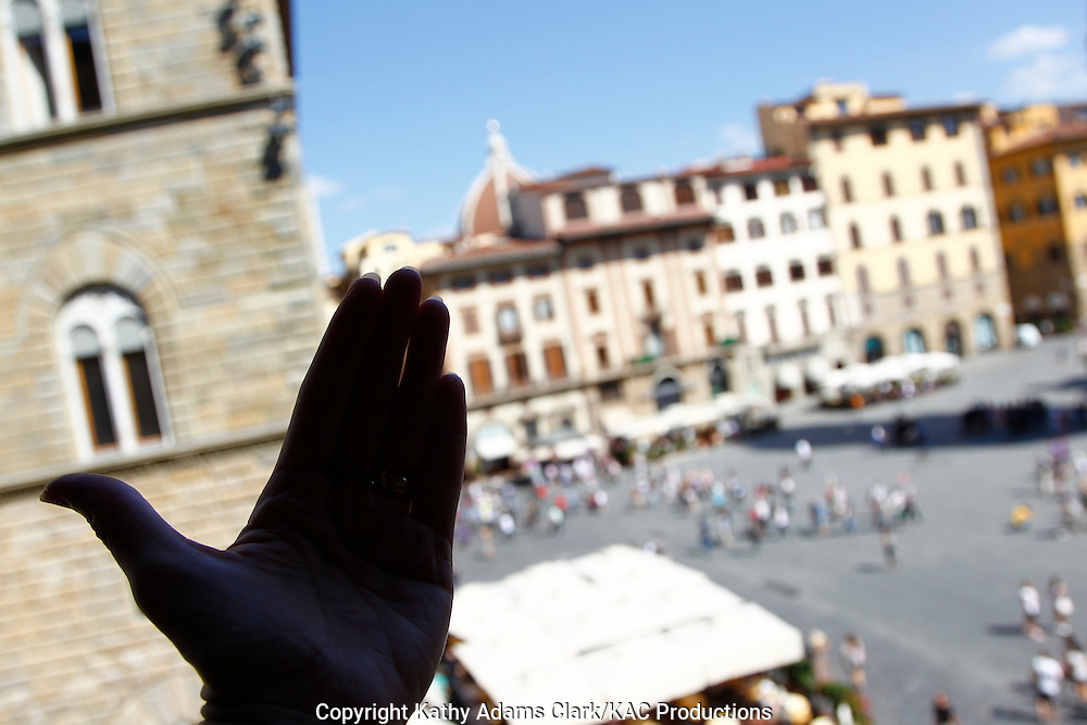 Panoramic of the Piazza della Signoria, in Florence, Firenze, Italy.