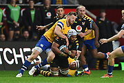 Wasps back row Nizaam Carr (7) takes a tackle during the Gallagher Premiership Rugby match between Wasps and Bath Rugby at the Ricoh Arena, Coventry, England on 2 November 2019.