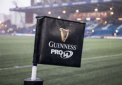 A general view of a corner flag Cardiff Arms Park, home of Cardiff Blues <br /> <br /> Photographer Simon King/Replay Images<br /> <br /> Guinness PRO14 Round 14 - Cardiff Blues v Connacht - Saturday 26th January 2019 - Cardiff Arms Park - Cardiff<br /> <br /> World Copyright © Replay Images . All rights reserved. info@replayimages.co.uk - http://replayimages.co.uk