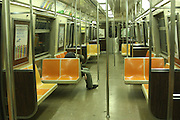 November 2, 2013-New York, NY. Last man on the A train. 11/2/2013 - Photo by Rosa Goldensohn/NYCity Photo Wire
