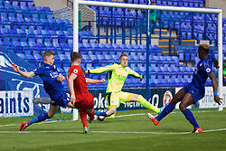 BIRKENHEAD, ENGLAND - Sunday, September 11, 2016: Liverpool's Ben Woodburn scores the first goal against Leicester City during the FA Premier League 2 Under-23 match at Prenton Park. (Pic by David Rawcliffe/Propaganda)