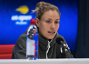 Angelique Kerber of Germany talks to the media after the first round of the 2018 US Open Grand Slam tennis tournament, at Billie Jean King National Tennis Center in Flushing Meadow, New York, USA, August 28th 2018, Photo Rob Prange / SpainProSportsImages / DPPI / ProSportsImages / DPPI