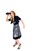 Young business woman looking at the future with binoculars On white Background