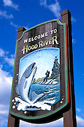 "The ""Welcome to..."" town sign, Hood River, Oregon"