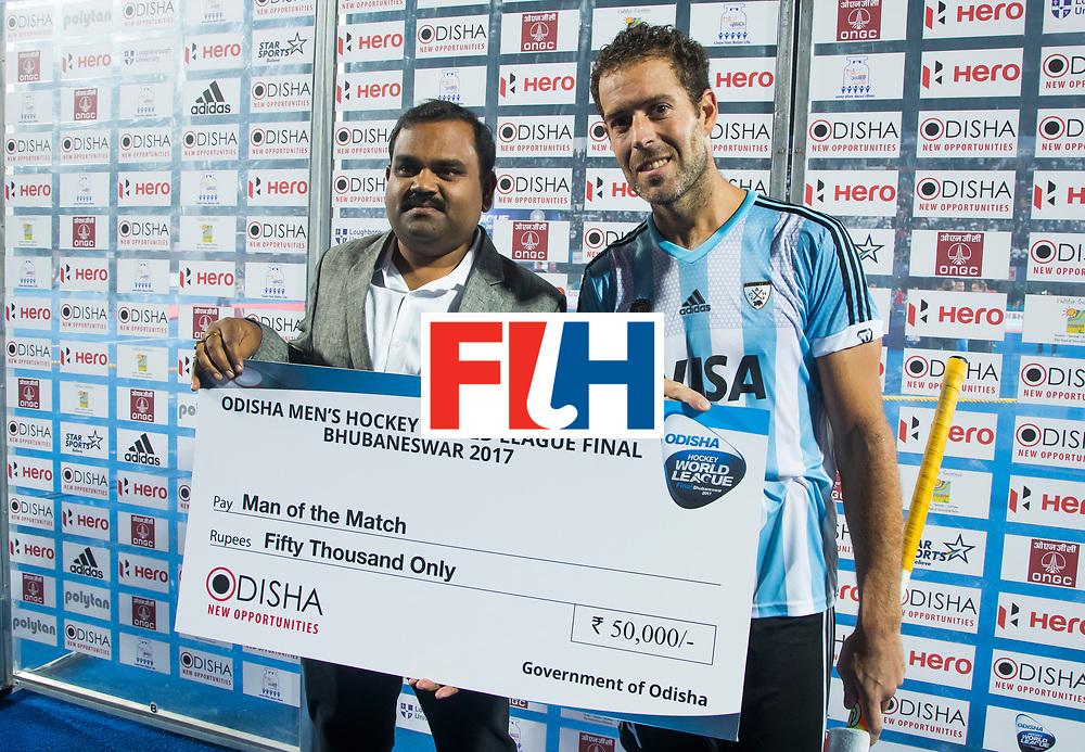 BHUBANESWAR - Juan Gilardi (Arg)  na de finale.  Hockey World League finals , Final Australia-Argentina (2-1) . Australia wint de finale. COPYRIGHT KOEN SUYK