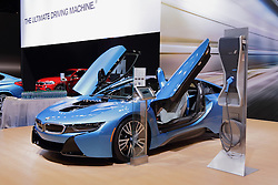 11 February 2016: BMW i8.<br /> <br /> First staged in 1901, the Chicago Auto Show is the largest auto show in North America and has been held more times than any other auto exposition on the continent.  It has been  presented by the Chicago Automobile Trade Association (CATA) since 1935.  It is held at McCormick Place, Chicago Illinois<br /> #CAS16