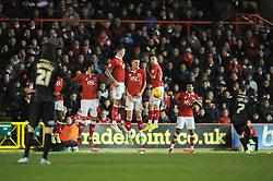 The Bristol City wall block the free kick from Peterborough United's Jon Taylor - Photo mandatory by-line: Dougie Allward/JMP - Mobile: 07966 386802 - 17/02/2015 - SPORT - Football - Bristol - Ashton Gate - Bristol City v Peterborough United - Sky Bet League One