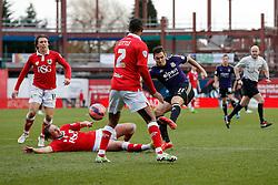 Stewart Downing of West Ham shoots as Luke Ayling of Bristol City challenges (on the floor) - Photo mandatory by-line: Rogan Thomson/JMP - 07966 386802 - 25/01/2015 - SPORT - FOOTBALL - Bristol, England - Ashton Gate Stadium - Bristol City v West Ham United - FA Cup Fourth Round Proper.