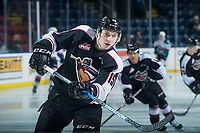 KELOWNA, CANADA - FEBRUARY 7:  Owen Hardy #15 of the Vancouver Giants warms up against the Kelowna Rockets on February 7, 2018 at Prospera Place in Kelowna, British Columbia, Canada.  (Photo by Marissa Baecker/Shoot the Breeze)  *** Local Caption ***